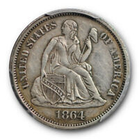 1864 10C SEATED LIBERTY DIME PCGS EXTRA FINE  45 EXTRA FINE TO AU KEY DATE LOW MINTAGE