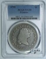 1795 THREE LEAVES FLOWING HAIR DOLLAR PCGS VG-10; LOOKS F