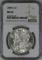 1889 S MORGAN SILVER DOLLAR $1 NGC CERTIFIED MINT STATE 62 MINT STATE 018