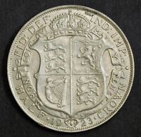 1923 GREAT BRITAIN GEORGE V. LARGE SILVER 1/2 CROWN COIN. XF AU