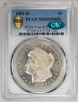 1891-O $1, DM MORGAN DOLLAR - PCGS MINT STATE 65DMPL CERTIFIED US  COIN  COIN