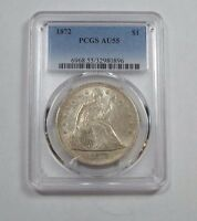 1872 LIBERTY SEATED DOLLAR CERTIFIED  PCGS  AU 55 SILVER $