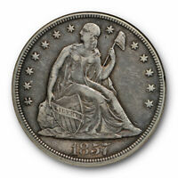 1857 $1 SEATED LIBERTY DOLLAR ANACS EF DETAILS CLEANED NET VF 30 KEY DATE