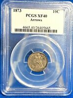 1873 SEATED LIBERTY SILVER DIME ARROWS PCGS  EXTRA FINE 40