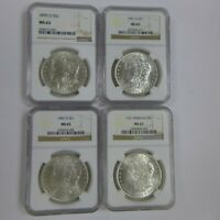 LOT OF 4 1899-O, 1901-O, 1902-O, 1921, MORGAN SILVER DOLLARS  - NGC MINT STATE 63