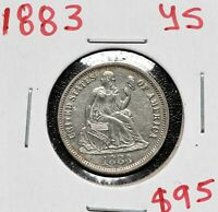 1883 SILVER SEATED DIME 10 COIN LOT A 588