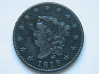 1818 LARGE CENT AU DETAIL SHARP EARLY TYPE COIN