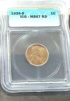 1930 S ICG GRADED MINT STATE 67 RED 1C LINCOLN WHEAT CENT SHIPS FREE ONLY 1 1930S MINT STATE 67