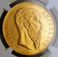 Click now to see the BUY IT NOW Price! 1866 MEXICO  EMPIRE  MAXIMILIAN I. GOLD 20 PESOS COIN. 8 274 STRUCK  NGC UNC