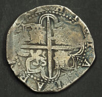 1598 KINGDOM OF SPAIN PHILIP II. LARGE SILVER 8 REALES COB C