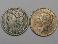 2 US SILVER DOLLARS: 1890-S MORGAN & 1922 PEACE.  5