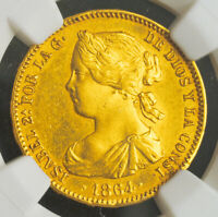 1864 KINGDOM OF SPAIN ISABEL II. GOLD 100 REALES COIN.  8.38