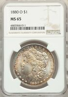 1880-O US MORGAN SILVER DOLLAR $1 - NGC MINT STATE 65