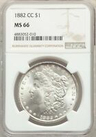 1882-CC US MORGAN SILVER DOLLAR $1 - NGC MINT STATE 66