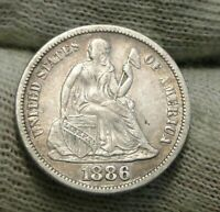 1886S  SEATED LIBERTY DIME, 10 CENTS. KEY DATE ONLY 206,524 MINTED,  8703