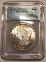 1879 CHOICE BU MORGAN SILVER DOLLAR. ICG MINT STATE 63. SATINY WHITE, JUST A HINT OF TONE