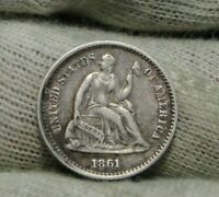 1861/0 SEATED LIBERTY HALF DIME H10C   COIN, SHIPS FREE 8676
