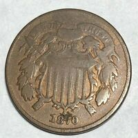 1870 COPPER US TWO CENT PIECE. VG, DIG AT DATE. LOTNN1 2C