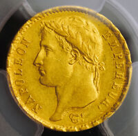 1808 FRANCE  1ST EMPIRE  NAPOLEON I. CERTIFIED GOLD 20 FRANCS COIN. PCGS AU53