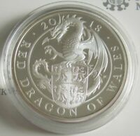 GROBRITANNIEN 2 POUNDS 2018 QUEEN'S BEASTS RED DRAGON OF WALES 1 OZ SILBER PP