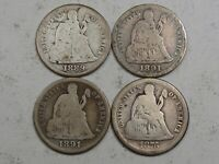 4 SEATED LIBERTY DIMES: 1889, 1891, 1891-S, 1876-S.  76