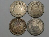 4 US SEATED LIBERTY DIMES: 1853, 1854, 1889 & 1891-O.  6