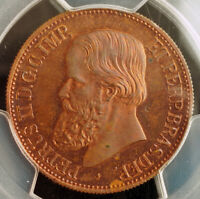 1871 BRAZIL PEDRO II. PROOF COPPER