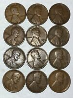12 F-VF LINCOLN WHEAT CENTS. P,D&S FOR EACH YEAR 1926, 1927, 1928, 1929. Q2