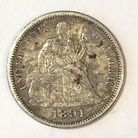 1891 SEATED LIBERTY DIME - HIGH QUALITY SCANS D275