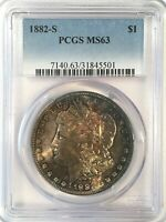 1882-S MORGAN SILVER DOLLAR - PCGS MINT STATE 63 - WOW TONING - HIGH QUALITY SCANS 5501