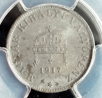 1917 KINGDOM OF HUNGARY. UNCIRCULATED IRON 20 FILLER COIN. PCGS MS 63