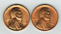 US COIN, ONE CENT 1954D & 1954S UNCIRCULATED, LINCOLN WHEAT PENNEY