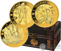 PIRATES INDIAN OCEAN SET GILDED GOLD PLATED COIN 1 RUPEE SEY