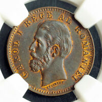 1900 ROMANIA  KINGDOM  CAROL I.NICE COPPER 2 BANI COIN. NGC MS 63 BN