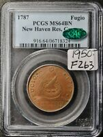 1787 FUGIO.  NEW HAVEN RES.  CAC GRADED.  IN PCGS HOLDER.  MS 64 BROWN.  F262
