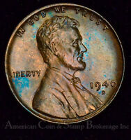 1C ONE CENT PENNY 1940 D UNC BU LINCOLN WHEAT COLORFUL CHOICE FROSTY LUSTER GEM