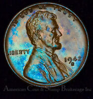 1C ONE CENT PENNY 1942 S UNC BU LINCOLN WHEAT COLORFUL ICE BLUE TONES GEM
