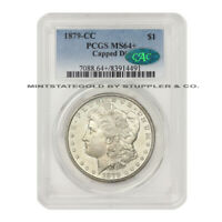 1879-CC $1 MORGAN PCGS MINT STATE 64 CAC CAPPED DIE CARSON CITY SILVER DOLLAR
