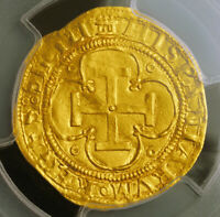 1555 CHARLES & JOANNA OF SPAIN. GOLD ESCUDO COIN. SEVILLE MINT  PCGS MS 62