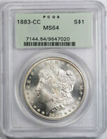 1883 CC $1 MORGAN DOLLAR PCGS MINT STATE 64 UNCIRCULATED CARSON CITY MINT OGH