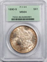 1890 S $1 MORGAN DOLLAR PCGS MINT STATE 64 UNCIRCULATED TONED ORIGINAL OGH CERT9891