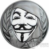 GUY FAWKES MASK ANONYMOUS V FOR VENDETTA 1 OZ SILVER COIN 5$