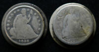 10C CENT 1838/1842 & 1856/1850 1/2 10C HALF LIBERTY SEATED CUFFLINKS LOVE TOKEN