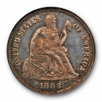 1863 SEATED LIBERTY DIME 10C NGC PR 62 PROOF TONED KEY DATE LOW MINTAGE