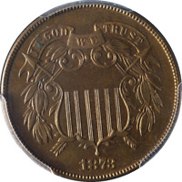 1873 TWO 2 CENT PIECE PROOF CLOSED 3 PCGS PR64RB KEY DATE GREAT EYE APPEAL