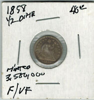1858 SEATED LIBERTY HALF DIME US COIN