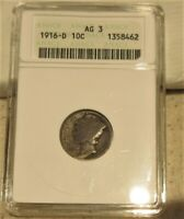 1916 D MERCURY DIME KEY DATE ENCAPSULATED & GRADED AG 3 BY