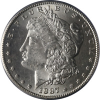 1887-S MORGAN SILVER DOLLAR PCGS MINT STATE 64 BLAZING WHITE SUPERB EYE APPEAL