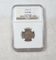 1914-D LINCOLN/WHEAT EARS REVERSE CENT  CERTIFIED NGC VF 35 BROWN