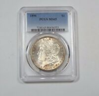 1896 MORGAN DOLLAR CERTIFIED PCGS MINT STATE 65 SILVER $